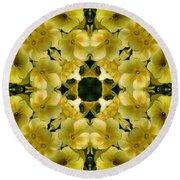 Yellow Primrose Kaleidoscope Round Beach Towel