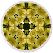 Yellow Primrose Kaleidoscope Round Beach Towel