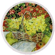 Yellow Primroses In A Basket,with Fruit And Textiles Round Beach Towel