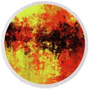 Round Beach Towel featuring the painting Yellow, Red And Black by Ayse Deniz
