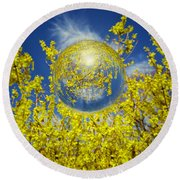 Round Beach Towel featuring the photograph Yellow by Robert Geary
