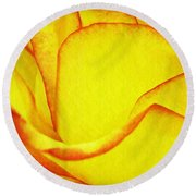 Yellow Rose Abstract Round Beach Towel
