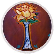 Yellow Rose Round Beach Towel