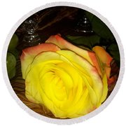 Yellow Rose And Grapes Round Beach Towel