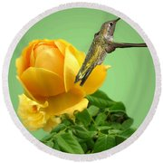 Yellow Rose And Hummingbird 2 Round Beach Towel