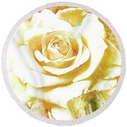 Round Beach Towel featuring the photograph yellow Rose by Athala Carole Bruckner