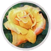 Yellow Rose Bloom In Oil Round Beach Towel
