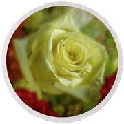 Yellow Rose Round Beach Towel by Garry McMichael