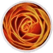 Round Beach Towel featuring the photograph Yellow Rose Glow Square by Terry DeLuco