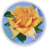 Yellow Rose Round Beach Towel by Marna Edwards Flavell