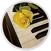 Yellow Rose On Piano Keys Round Beach Towel