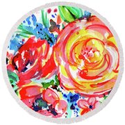 Yellow Rose Red Round Beach Towel by Nada Meeks