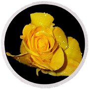 Yellow Rose With Dew Drops Round Beach Towel
