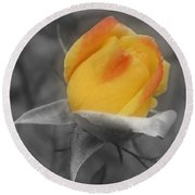 Yellow Rosebud Partial Color Round Beach Towel