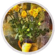 Yellow Roses Bouquet Round Beach Towel