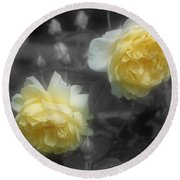 Yellow Roses Partial Color Round Beach Towel