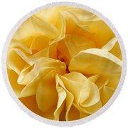Yellow Ruffles - Rose Round Beach Towel