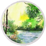 Yellow Sky Round Beach Towel by Anil Nene
