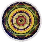 Round Beach Towel featuring the painting Yellow Spiral by Kym Nicolas