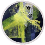 Round Beach Towel featuring the painting Yellow Splash by Nancy Merkle