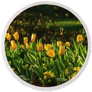 Yellow Spring Fever Round Beach Towel