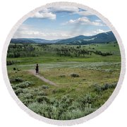 Round Beach Towel featuring the photograph Yellow Stone Mountains by Mae Wertz