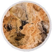 Round Beach Towel featuring the photograph Yellow Stone National Park Abstract by Mae Wertz