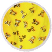 Yellow Summer Transport Round Beach Towel