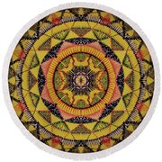 Round Beach Towel featuring the painting Yellow Sun by Kym Nicolas