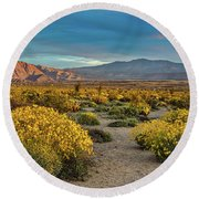 Round Beach Towel featuring the photograph Yellow Sunrise by Peter Tellone