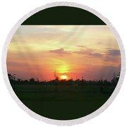 Yellow Sunset At Park Round Beach Towel