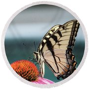 Yellow Swallowtail II Round Beach Towel