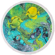 Round Beach Towel featuring the painting Yellow Tang On White by Darice Machel McGuire