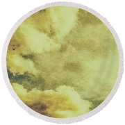 Yellow Toned Textured Grungy Cloudscape Round Beach Towel