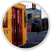 Yellow Trolley At Earnestine And Hazels Round Beach Towel