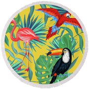 Yellow Tropic  Round Beach Towel by Mark Ashkenazi