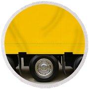 Yellow Truck Round Beach Towel by Carlos Caetano
