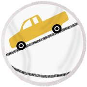 Yellow Truck On Road- Art By Linda Woods Round Beach Towel