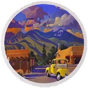 Yellow Truck Square Round Beach Towel