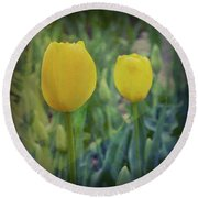 Yellow Tulip Art Round Beach Towel