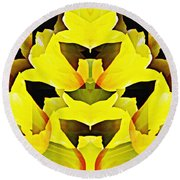 Yellow Tulip Bouquet   Round Beach Towel by Sarah Loft