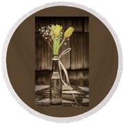 Yellow Tulips In Glass Bottle Sepia Round Beach Towel by Terry DeLuco