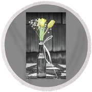 Yellow Tulips In Glass Bottle Round Beach Towel by Terry DeLuco