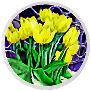 Round Beach Towel featuring the painting Yellow Tulips by Joan Reese