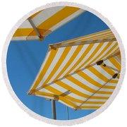 Yellow Umbrella Round Beach Towel