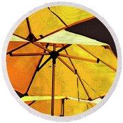 Yellow Umbrellas Round Beach Towel