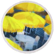Yellow Umbrellas Round Beach Towel