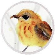Round Beach Towel featuring the painting Yellow Warbler by Dawn Derman