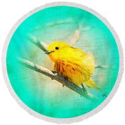 Round Beach Towel featuring the photograph Yellow Warbler by John Wills