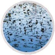 Yellow Water Lilies In Deep Silhouette Round Beach Towel